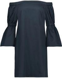 Tibi - Off-the-shoulder Cotton-poplin Mini Dress - Lyst