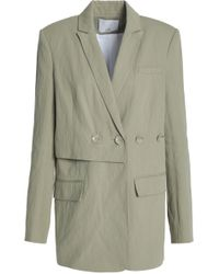 Tibi - Double-breasted Cotton-blend Twill Blazer Light Green - Lyst