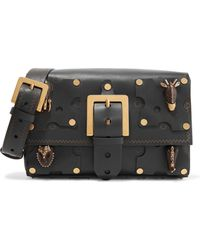 Valentino - Buckled Embellished Leather Shoulder Bag - Lyst