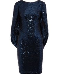 Badgley Mischka - Woman Cape-effect Sequined Tulle Dress Navy - Lyst