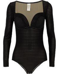 Zimmermann | Mischief Stripe Mesh Bodysuit | Lyst