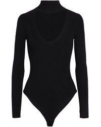 Cushnie et Ochs - Cutout Ribbed-knit Turtleneck Bodysuit - Lyst