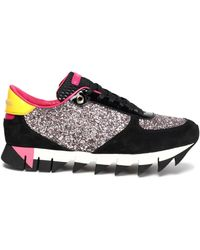 Dolce & Gabbana - Glittered Panelled Suede Trainers - Lyst