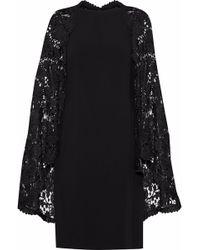 Reem Acra - Woman Cape-effect Guipure Lace-paneled Crepe Dress Black - Lyst