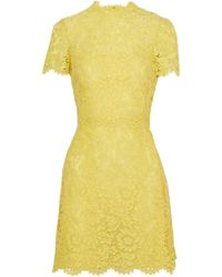 Valentino - Scalloped Cotton-blend Corded Lace Mini Dress - Lyst