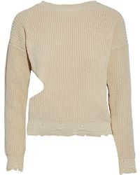 IRO - Cutout Distressed Ribbed Cotton Sweater - Lyst