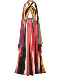 Elie Saab - Striped Silk-blend Georgette Halterneck Gown - Lyst