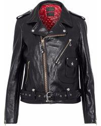 Rag & Bone - Woman Schott Embellished Leather Biker Jacket Black - Lyst