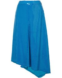 MSGM - Asymmetric Sequined Crepe Midi Skirt Cobalt Blue - Lyst
