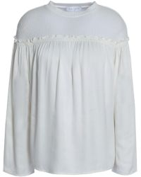 Sandro - Ribbed Cotton-blend And Satin Blouse - Lyst