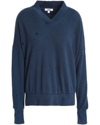 LNA - Woman French Cotton-terry Sweatshirt Navy - Lyst