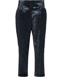 Brunello Cucinelli - Cropped Cotton-blend Velvet Tapered Pants Midnight Blue - Lyst