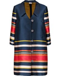 SUNO - Striped Satin-twill Coat - Lyst