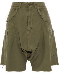 R13 - Frayed Cotton-twill Shorts - Lyst