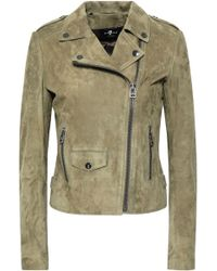 7 For All Mankind - Woman Suede Biker Jacket Sage Green - Lyst