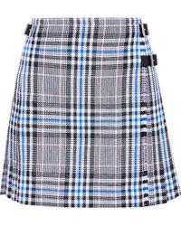 Christopher Kane - Woman Pleated Checked Cotton-blend Jacquard Mini Skirt White - Lyst