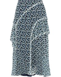 Jason Wu - Ruffled Floral-print Crinkled Silk-chiffon Midi Skirt - Lyst