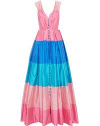 Carolina Herrera - Pleated Color-block Taffeta Gown - Lyst