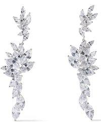 CZ by Kenneth Jay Lane - Woman Rhodium-plated Crystal Earrings Silver - Lyst