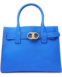 Tory Burch - Gemini Textured-leather Shoulder Bag Cobalt Blue - Lyst