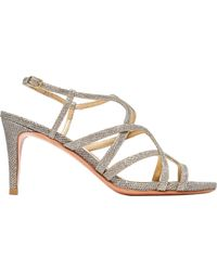 Stuart Weitzman - Turning Up Textured-lamé Sandals - Lyst