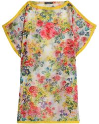Dolce & Gabbana - Satin-trimmed Floral-print Cotton And Silk-blend Coverup - Lyst