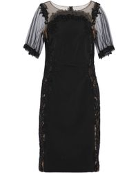 Marchesa notte - Embellished Tulle-paneled Cady Dress - Lyst