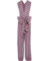 TOME - Bow-detailed Striped Cotton-poplin Jumpsuit - Lyst