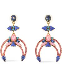 Elizabeth Cole - Woman Gold-tone, Crystal And Stone Earrings Pink - Lyst