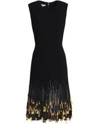 Oscar de la Renta - Fringed Sequin-embellished Wool-blend Dress - Lyst