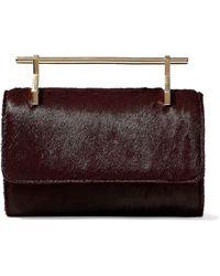 M2malletier - Woman Fabricca Calf Hair Shoulder Bag Burgundy - Lyst