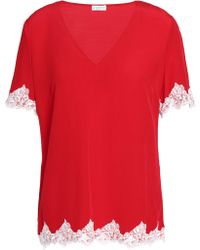 Claudie Pierlot - Buzz Lace-trimmed Crepe Top - Lyst