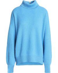 Brunello Cucinelli - Ribbed Cashmere Turtleneck Sweater Light Blue - Lyst