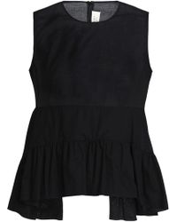 Marni - Ruffled Cotton-mousseline Peplum Top - Lyst