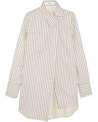 ADEAM - Asymmetric Striped Twill Shirt - Lyst