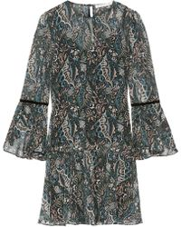 Veronica Beard - Denver Printed Silk-chiffon Mini Dress - Lyst