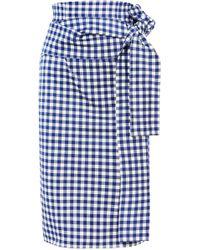 Silvia Tcherassi Gingham Cotton-blend Skirt Blue