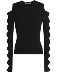 Autumn Cashmere - Cutout Bow-detailed Stretch-knit Jumper - Lyst