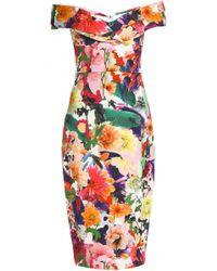 Cushnie et Ochs - Woman Off-the-shoulder Floral-print Cady Dress Multicolor Size 0 - Lyst