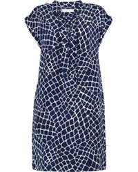 MICHAEL Michael Kors - Lace-up Printed Silk Mini Dress - Lyst