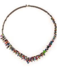 Iosselliani - Gunmetal-tone, Crystal And Stone Necklace - Lyst