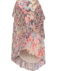 Jason Wu - Asymmetric Ruffled Floral-print Silk-georgette Midi Skirt - Lyst