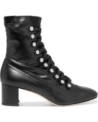 Chelsea Paris - Malika Studded Lace-up Leather Ankle Boots - Lyst