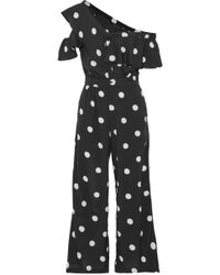 W118 by Walter Baker | One-shoulder Polka-dot Ruffled Crepe De Chine Jumpsuit | Lyst