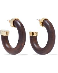 Kenneth Jay Lane - Gold-tone Wood Hoop Earrings - Lyst