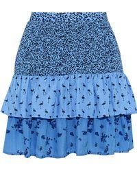 Baum und Pferdgarten - Salwa Tiered Printed Seersucker Mini Skirt - Lyst