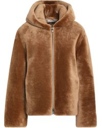 Vince - Leather-trimmed Shearling Hooded Jacket - Lyst