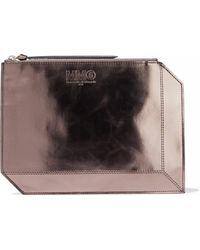 MM6 by Maison Martin Margiela - Metallic Faux Patent-leather Pouch - Lyst
