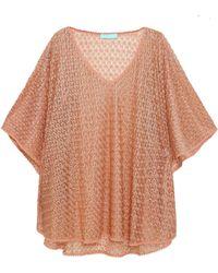Melissa Odabash - Woman Madison Metallic Crochet-knit Coverup Neutral - Lyst