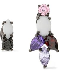 Iosselliani - Gunmetal-tone Crystal And Stone Earrings - Lyst